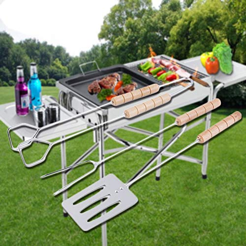 ArgoBar Easy to Clean /& Hygienic 3pcs BBQ Tool Set Spatula Fork Tong with Long Handles Grip Grilling for Outdoor /& Indoor Use