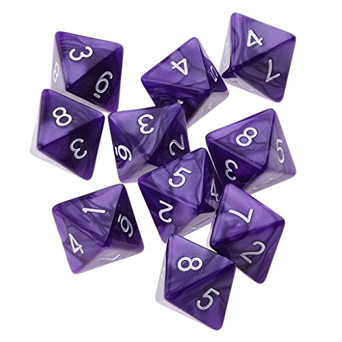 Jili Online 10pcs 8 Sided Dice D8 Polyhedral Dice for Dungeons and Dragons Roley playing Games Dice Gift Purple