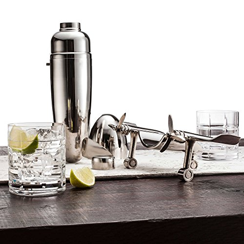Le'raze Airplane Cocktail Shaker, Premium 24 Ounce Bar Shaker With Stand, Airplane Art Bar Drink Shaker, Aviation Bartender Mixer, Ideal For Flying Bartender, Pilot Gift, Chrome Airplane Decor by Le'raze (Image #3)