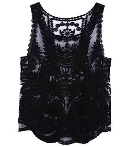 Persun Women Lace Floral Sleeveless Mesh Crochet Vest Tank Top Shirt Blouse,Black