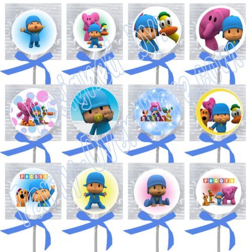 Pocoyo Party Favors Supplies Decorations Lollipops w/ Blue Ribbon Bows Party Favors -12 pcs One -