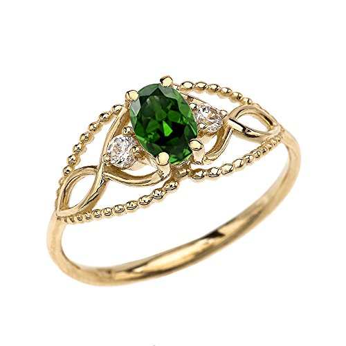 10k Yellow Gold Elegant Beaded Solitaire Ring With May Birthstone Green CZ and White Topaz (Size 7.75)