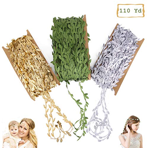 110Yards Leaf Ribbons, Olive Green Leaf Ribbon, Gold Leaf Ribbon, Silver Leaf Ribbon Trim Spool, Green Leaf Ribbon Trim Spool, Wreath Making Gift Wrapping Wedding Decoration(3 Pack) -