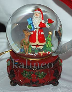 Gisela Graham - Spieluhr Schneekugel - Santa Claus mit Rentier