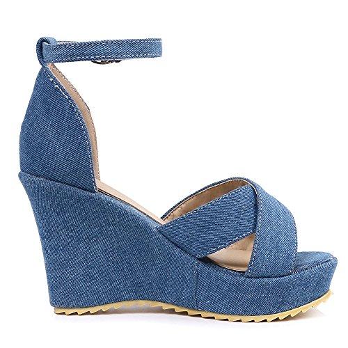 TAOFFEN Women Fashion Wedge Heel Sandals Open Toe Summer Shoes Blue zYklDC6