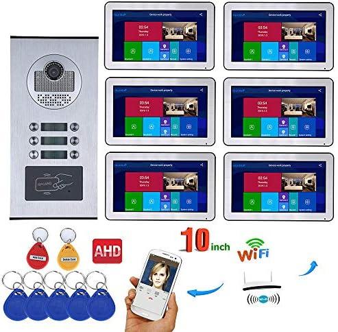 ビデオインターホンシステム6つのアパート10インチ・レコード有線AHD 720Pビデオドア電話インターホンシステムRFID IR-CUTカメラ