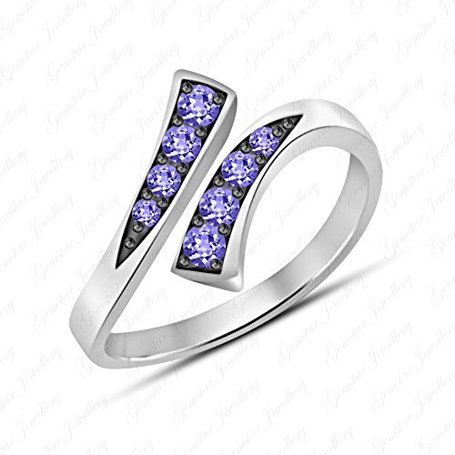Gemstar Jewellery Designer Bypass Adjustable Toe Ring In 14k Two Tone Gold Finish Round Cut Tanzanite ()