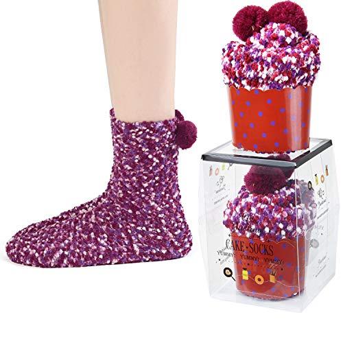 2 DIY Gift Boxes Valentine's Day Christmas Socks Cozy Super Soft Warm Fuzzy Plush Crew Socks Women's (2Purple)