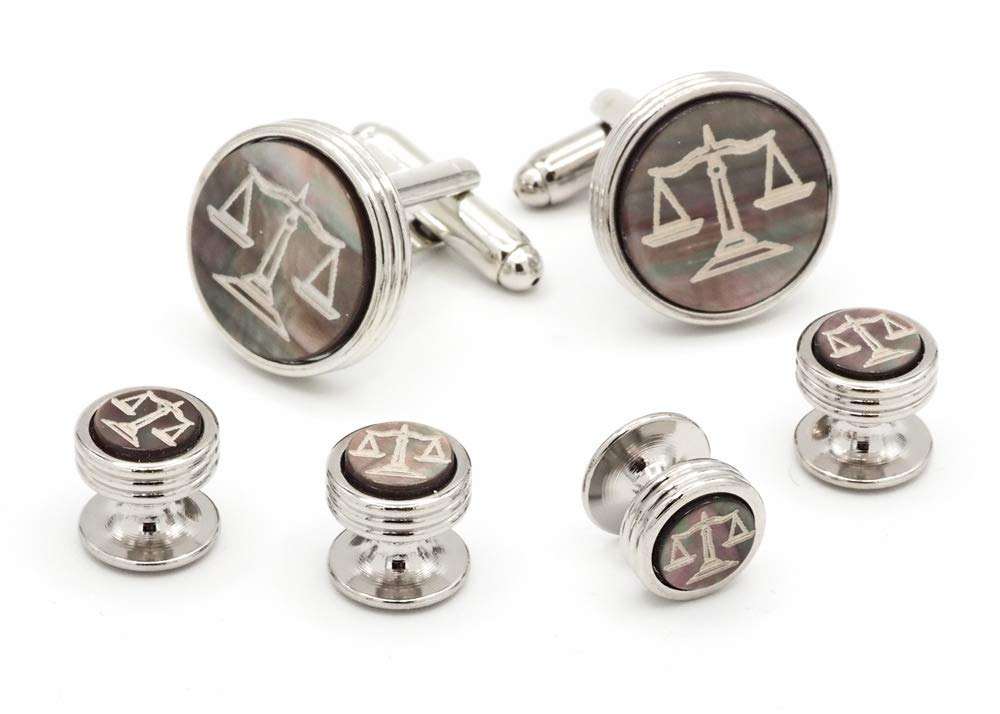 JJ Weston Legal Scales Engraved on Smoked MOP Tuxedo Cufflinks and Shirt Studs. Made in The USA