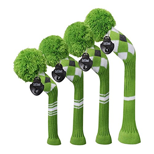 - Scott Edward Green Grey White Argyles White Stripes Golf Club Head Covers Set of 4, Fit for Driver Wood(460cc), Fairway Wood,and Hybrid(UT), for Male/Female Golfers (Green White)