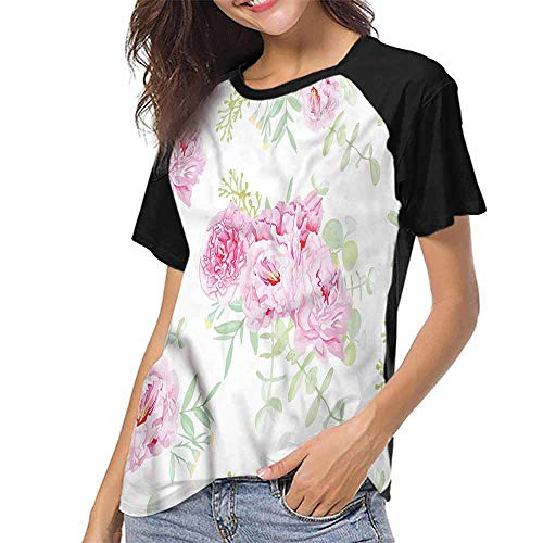 Mangooly Baseball Women Short Sleeve,Shabby Chic,Serenity Garden Theme S-XXL Women Fashion -