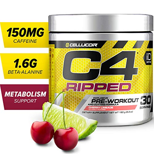 C4 Ripped Pre Workout Powder Cherry Limeade | Creatine Free + Sugar Free Preworkout Energy Supplement for Men & Women | 150mg Caffeine + Beta Alanine + Weight Loss | 30 Servings