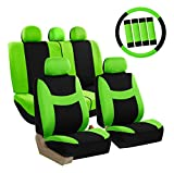 FH Group FB030GREEN-COMBO Seat Cover Combo Set with Steering Wheel Cover and Seat Belt Pad (Airbag Compatible and Split Bench Green)