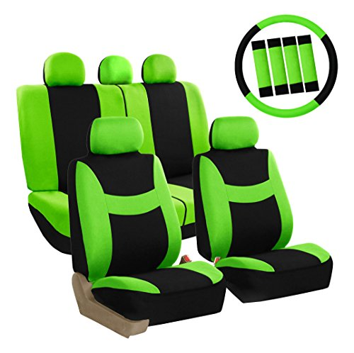 (FH Group FB030GREEN-COMBO Seat Cover Combo Set with Steering Wheel Cover and Seat Belt Pad (Airbag Compatible and Split Bench Green))