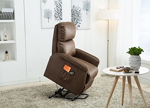 Lift Recliner Classic Power Lift Chair Soft and Warm Fabric with Remote Control for Gentle Motor - Chocolate