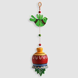 ExclusiveLane 'The Earth Charm' Terracotta Hand-Painted Home Décorative Stylish Balcony Outdoor Hangings (Multicolored)