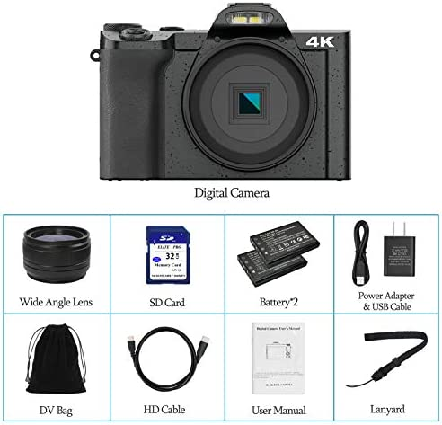 "4K Digital Camera Video Camera for YouTube, Kenuo 48MP Vlogging Camera Camcorder with WiFi, 3.5"" IPS Touch Screen, Wide Angle Lens, 32GB SD Card, Time-Lapse, 16X Digital Zoom"