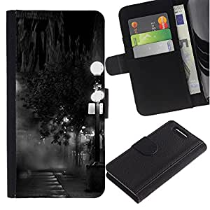 A-type (Lamp Black White Photo Night) Colorida Impresión Funda Cuero Monedero Caja Bolsa Cubierta Caja Piel Card Slots Para Sony Xperia Z1 Compact / Z1 Mini (Not Z1) D5503