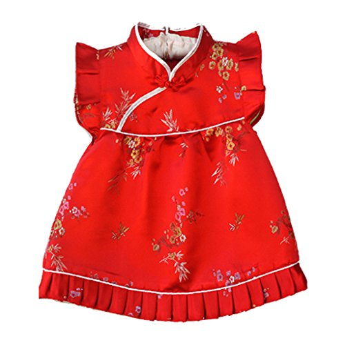 Baby Chinese New Year Costumes - Buenos Ninos Girls Short Sleeve Cheongsam Baby Qipao Patterned Cloth Set Red