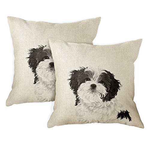 FINCIBO Sofa Pillow Cases, Decorative Throw Pillow Cushion Covers for Home Office 18 x 18 Inch (2 Piece Set), Cute Black White Shih Tzu Dog