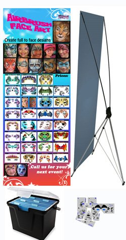 Face Painting Stencils - StencilEyes - Set of 30 Full Face Stencils w/Banner & Case by ShowOffs Body Art