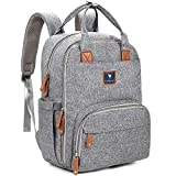 Diaper Bag Backpack | Diaper Backpack Diaper Bag, Baby Bag | Large Multifunction Travel Back Pack For Girls Or For Boys, Waterproof and Stylish, Gray