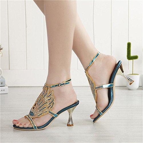 Imitación Vestido Fiesta Heels 2018 de Zapatos Sandalias Stiletto de Casual Mujer High Antideslizante Noche Diamantes de el para de Un y la New px7wZU7