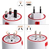 Travel Charger UPPEL Universal Travel Plug Charger Adapter US UK EU AU 110V to 240V Rotating AC Power Surge Protector with Dual USB Charging Ports for Your Trip (White)