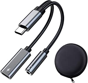 USB C to 3.5mm Audio Adapter with Charger, PD Charging and 3.5mm Headphone Jack 2 in 1, Listen and Charge at The Same time, Compatible with Pixel 4 /3 /2 XL, Galaxy S21 S20 S20+ Plus Note 20 iPad pro