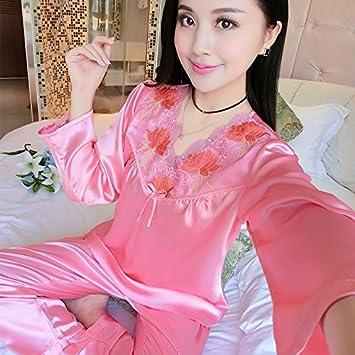 74dbacdd1b Wanglele Primavera Y El Otoño Señoras Seda Fina Sección Pijamas Traje De Dos  Piezas De Encaje Juvenil Batas De Manga Larga