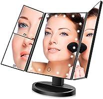 Espejo de Maquillaje, FASCINATE (Oro rosa) espejo aumento 21 LEDs,Espejo Maquillaje con Luz Tríptica Aumentos 3x, 2x,1x Lupa Rotación de 180°