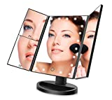 FASCINATE Lighted Makeup Mirror with 21 LED Lights Touch Screen Dimming, Tri-Fold 3X/2X/1X Magnification 180 Degree Rotation Vanity Mirror (Black)
