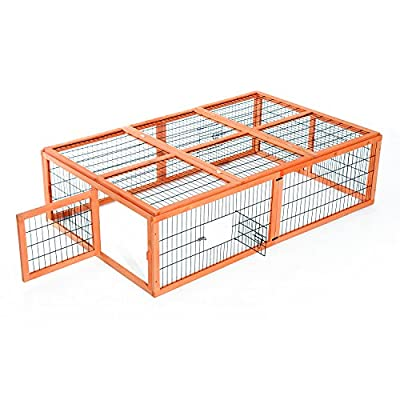 "Pawhut 68""L x 43""W x 19"" Wooden Rabbit Hutch Run Chicken Coop Outdoor Poultry Cage"