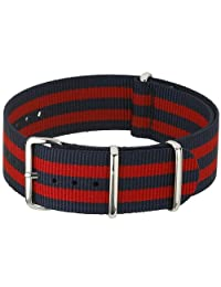 NATO-Style Blue and Red Striped Nylon Strap with Stainless Steel Buckles NATO-6-SS-0001 (20mm)