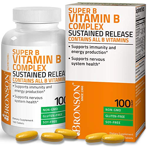Bronson Super B Vitamin B Complex Sustained Slow Release (Vitamin B1, B2, B3, B6, B9 – Folic Acid, B12) Contains All B Vitamins 100 Tablets