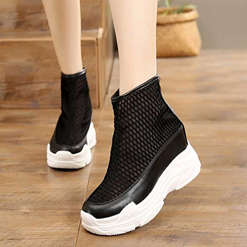 KPHY Women's shoes/new/Summer Hollow Net Boots Short Boots Fashionable 10Cm Super High Thick Bottom High Inside Cool Boots. Black S1tQGL