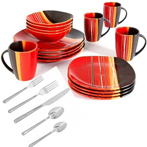 Home Trends Bazaar Red 32-Piece Square Dinnerware and Flatware Set - Square Flatware Set