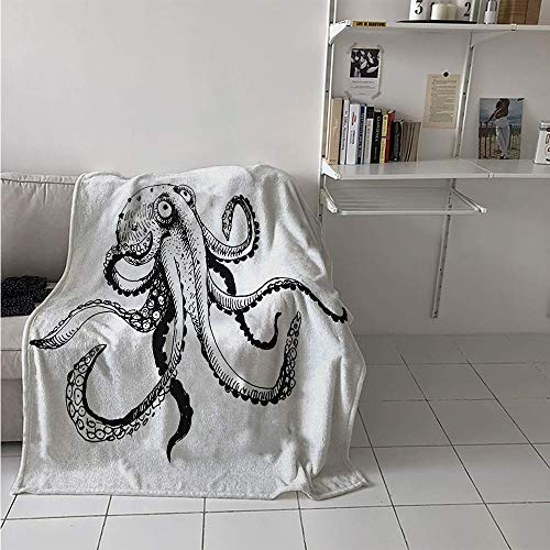 (Maisi Lightweight Blanket, Smiling Shy Octopus Posing Restaurant Comic Fun Doodle Art Illustration Print, Throw Blanket for Kids 50x30 Inch Black White)