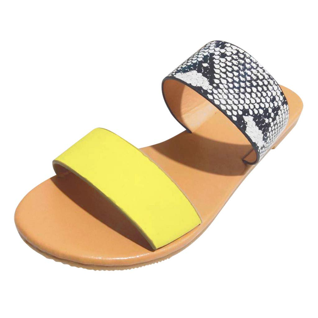 FGDJEE Women's Casual Monochrome Vintage Roman Plus-Size Flat Slippers Sandals Shoes 2019 New by FGDJEE