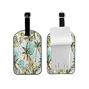 Geometric Pattern Luggage Tag Abstract Summer Watercolor Palm Tree Leaf Marble Grunge Doodle Textured Circles Floral…