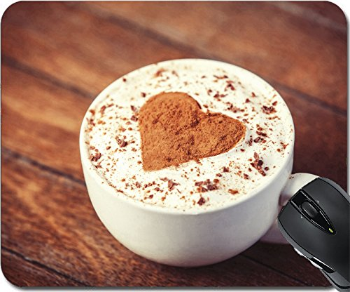 MSD Natural Rubber Mouse Pad Mouse Pads/Mat design 24284572 Cup with coffee and shape of the cacao heart on it Photo with vintage style