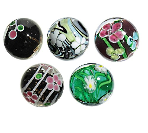 25mm Handmade Art Glass Marbles Flower Assortment D – Pack of 5 w/Stands