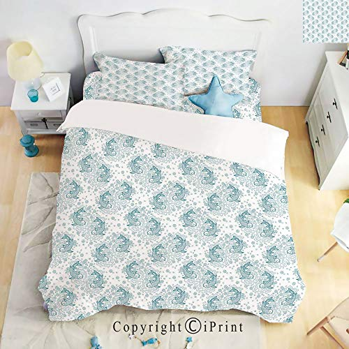 Home Luxury 4-Piece Bed Sheet,Japanese Inspired Koi Fishes with Floral Arrangement Doodle Style Nature Illustration,Blue White,Queen Size,Softest Bed Sheets and Pillow Cases