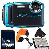 Fujifilm FinePix XP120 Underwater Digital Camera Bundle (Sky Blue) 600019758 + 16GB SDHC Class 10 Memory Card + FLOATING STRAP + More