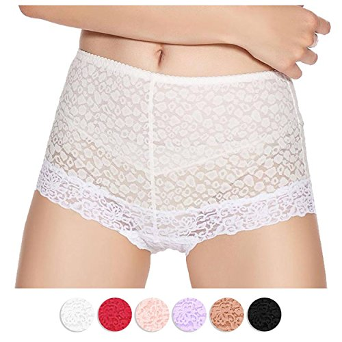 Eve's temptation Lily Women's High Waist Lace Breathable Panties-White (Panties Lace Hipster)
