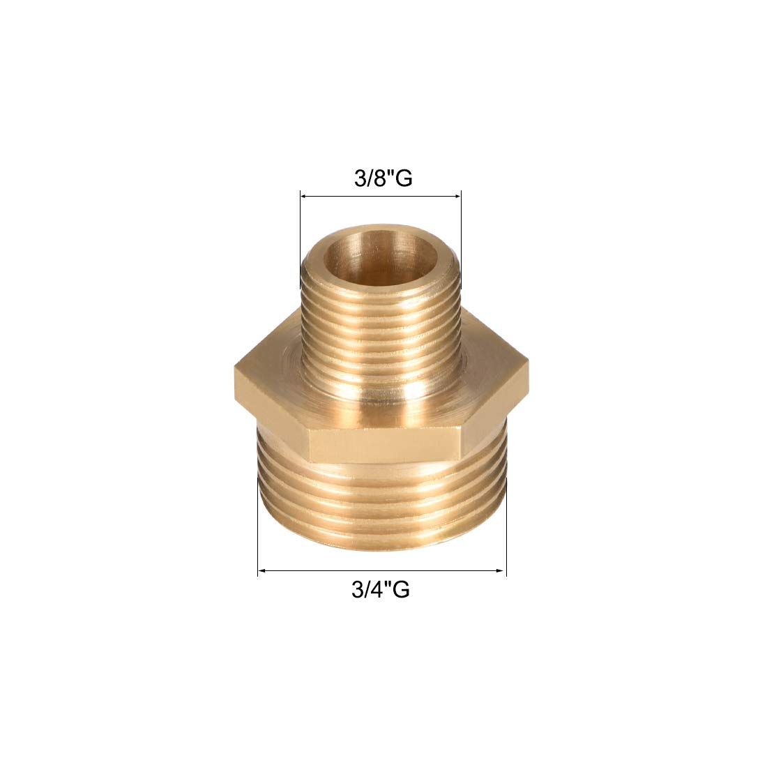 uxcell Brass Pipe Reducing Hex Nipple Fitting 1//4 G Male x 1//8 G Male Connector Gold Tone 4pcs