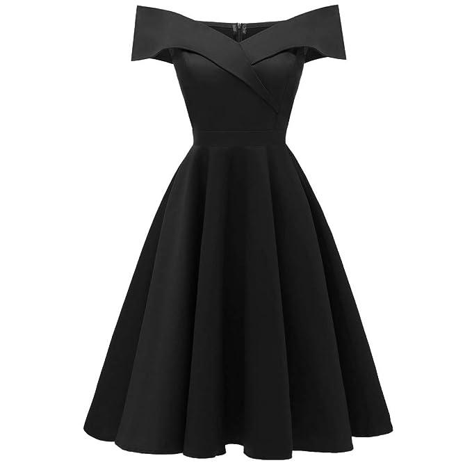 92ffadb590a MODOQO Women s Formal Evening Party Dress Off Shoulder Bridesmsid Short  Sleeve Ball Gown Prom Dresses(