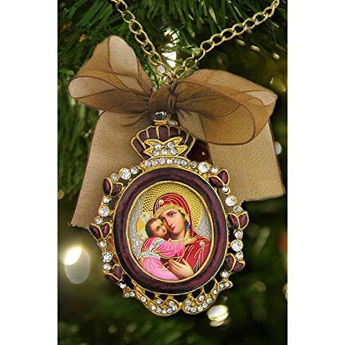 World Faith Icon Pendant Faberge Style Enamel Framed Icon Pendant Ornament