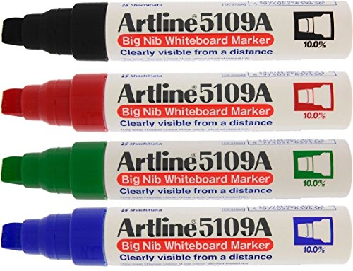 Large Dry Erase Markers - Artline 5109A Extra Thick Whiteboard Pens - Pack 4
