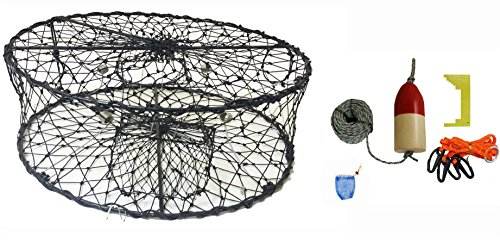 KUFA CT50 Sports Foldable Crab Trap with Red/White Floats, Harness, Bait Bag, Crab Caliper & Lead Core Singking Line Combo (CT50+CAQ1)